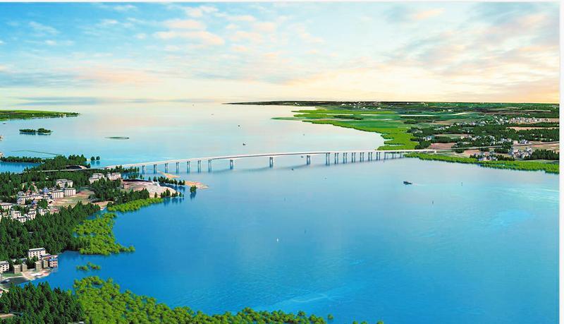 广西滨海公路大风江大桥开工建设